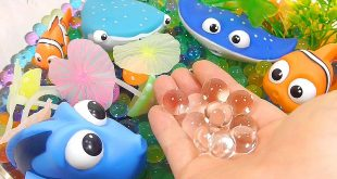 DIY How To Make 'Finding Dory Robotic Fish Colors Orbeez Aquarium' Learn Colors Slime Stress Ball